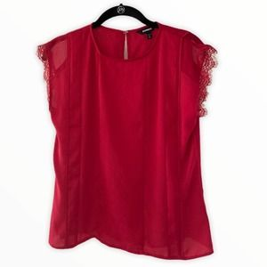 Express Boxy Blouse Lace Trim Sleeve Red XS